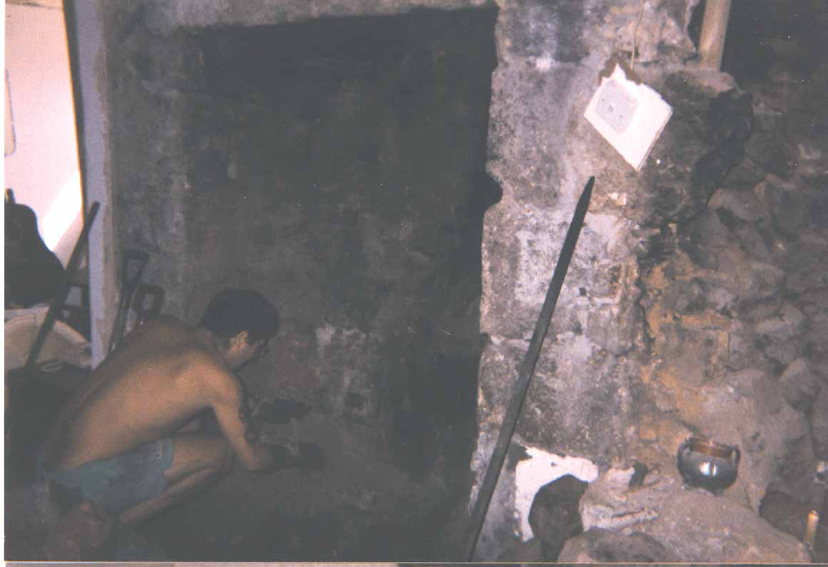 dean excavating the old fireplace